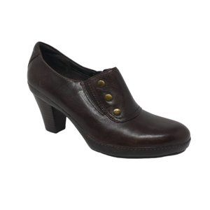 Clarks Brown Leather Heeled Ankle Booties Shooties